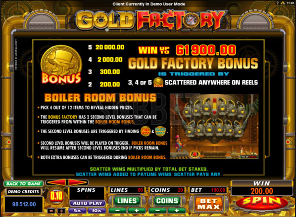 gold factory free spin